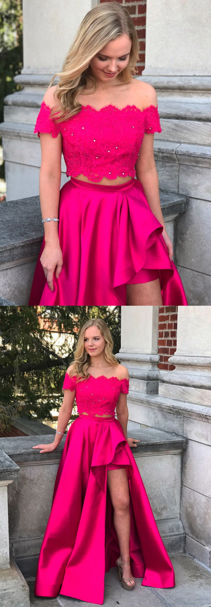 2018 twopiece hot pink long prom dress, off the shoulder hot pink long prom dress with side slits