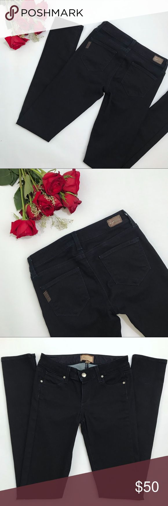 """Paige Dark Wash Peg Skinny Jeans Size 25 These are a pair of the 'Peg Skinny' jeans from Paige Jeans. These jeans are a super dark wash deep navy color that is almost black. Size 25 and in excellent condition! Please feel free to ask any questions.   Approximate measurements: (taken when laid flat) Waist 14"""" Hips 15.75"""" Front rise 7"""" Inseam 34"""" Full length 41.5"""" Paige Jeans Jeans Skinny"""