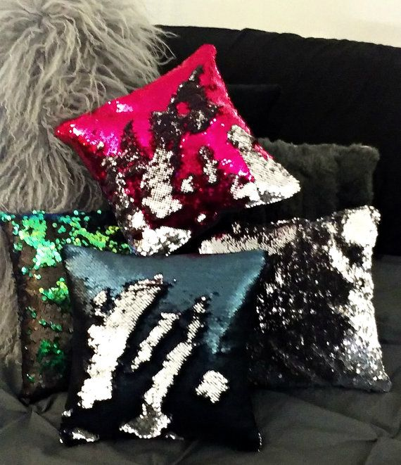 "Mermaid Pillow SALE!!! Filled NEW Colors to Write on! Mermaid Pillow Color-changing Sequin Mermaid Pillows 12"" 16"" 18"" pillow  HausVonNoir"