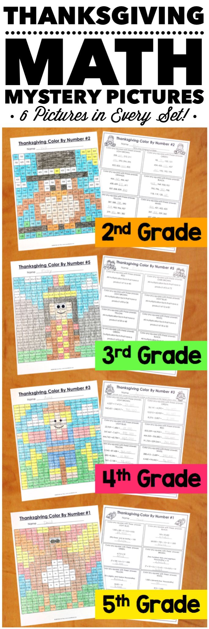 """My students LOVE these because they are fun to solve and color! I love them because it is a great review of the skills!"" These Thanksgiving Math Color by Number Activities are the perfect way to review key math skills taught throughout the beginning of the year. Each set comes with 6 different pictures, and each picture focuses on a different skill. Different versions available for 2nd, 3rd, 4th, and 5th grades."