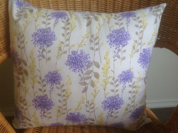 Brand new handmade lilac and lemon cushions. Zip covers and 100% cotton. $40