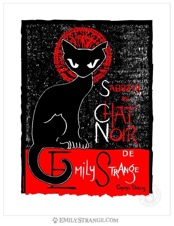 Sabbath Chat Noir 11x14 Emily The Strange Art par EmilyStrangerous