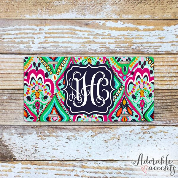 Monogrammed Lilly Pulitzer Inspired License Plate – Adorable Accents