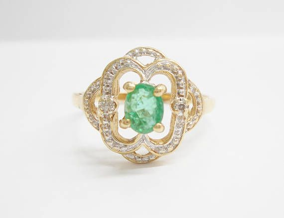 Emerald Ring Gold Ring Natural Emerald Emerald And Diamond