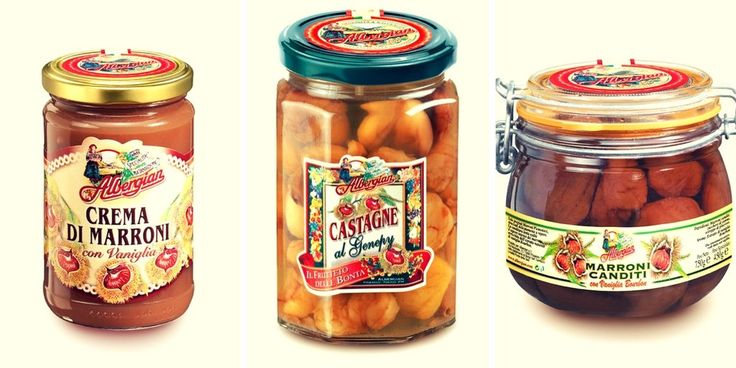 Albergian chestnut specialties: a cream, a canned product... The taste of italian food.