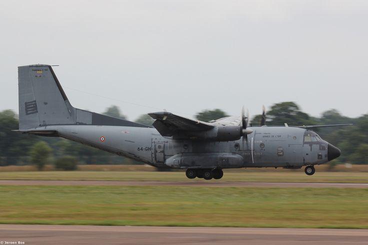 Transall C-160 R208, code 64-GH, Armée de l'air arriving at a wet Fairford UK, RIAT 2015