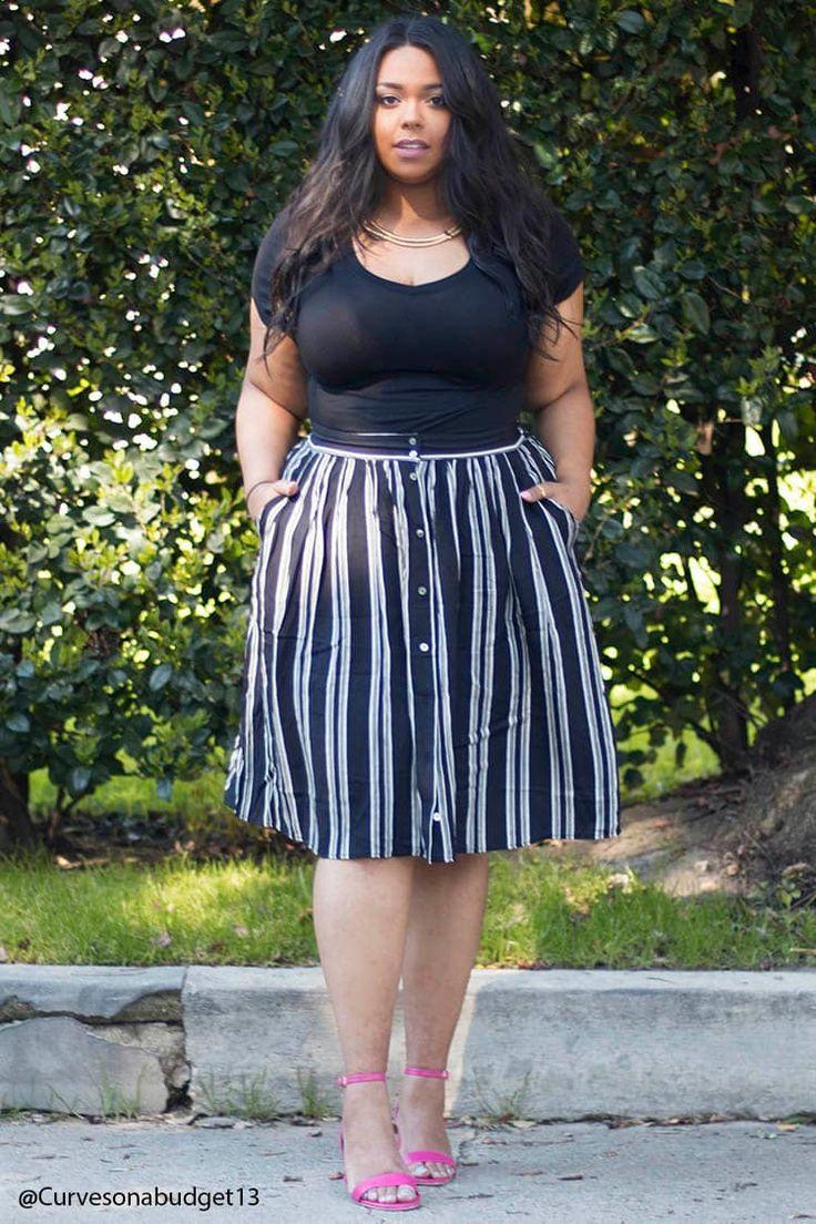 Plus Size Stripe Skirt