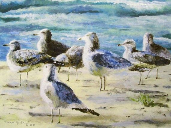 SEAGULLS - Fine Art GICLEE PRINT after an original painting by Milena Gawlik