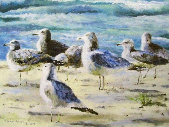 SEAGULLS - Fine Art GICLEE PRINT after an original painting by Milena Gawlik