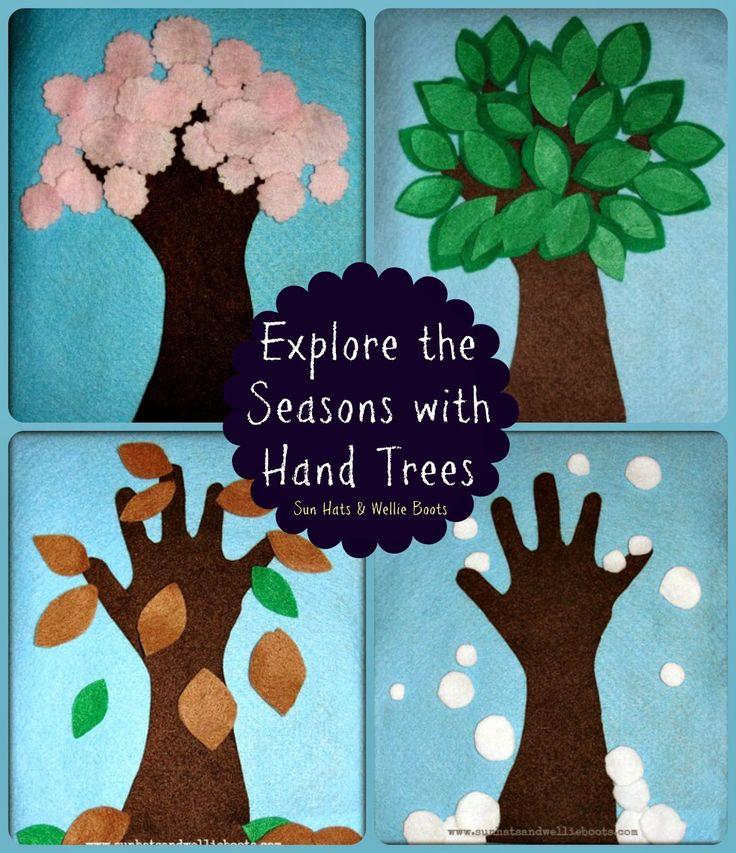 Sun Hats & Wellie Boots: Felt Hand Trees - Exploring the 4 Seasons
