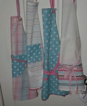 Childs Aprons made from pack of tea-towels.