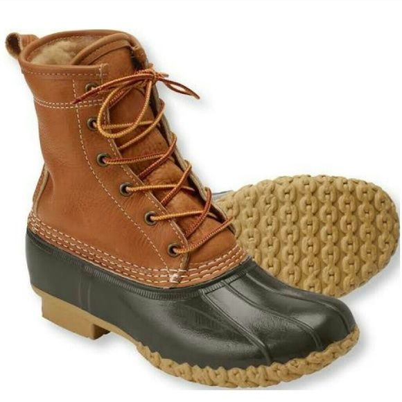 L.L. Bean women's duck boots (For sale) Brand new.  Tan/brown, shearling-lined, tumbled leather women's duck boots. $270 onmercari. L.L. Bean Shoes Winter & Rain Boots