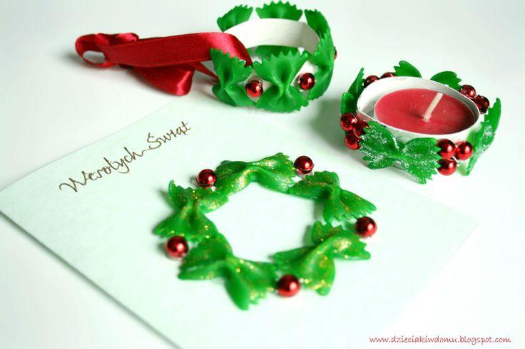 Ozdoby świąteczne z barwionego makaronu i rolek: kartka świąteczna, stroik na tealight, ozdoa na choinkę