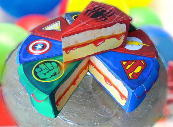 birthday superhero box paper slice cake instant download favour anniversary superhero hulk superman ironmanflashgreenlantern spiderman