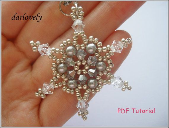 Christmas Beaded Snowflake Tutorial Pattern - Shimmering Snowflake Charm/Pendant (XM026) - Beading Jewelry PDF Tutorial (Instant Download)