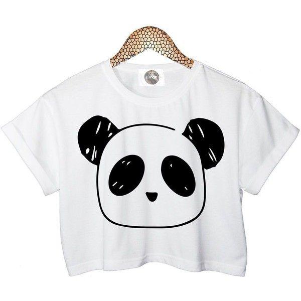 Panda T Shirt Crop Top Womens Ladies Retro Vtg Tumblr Celebrities... ❤ liked on Polyvore featuring tops, shirts, white shirt, crop top, white crop top, white top and panda bear shirt