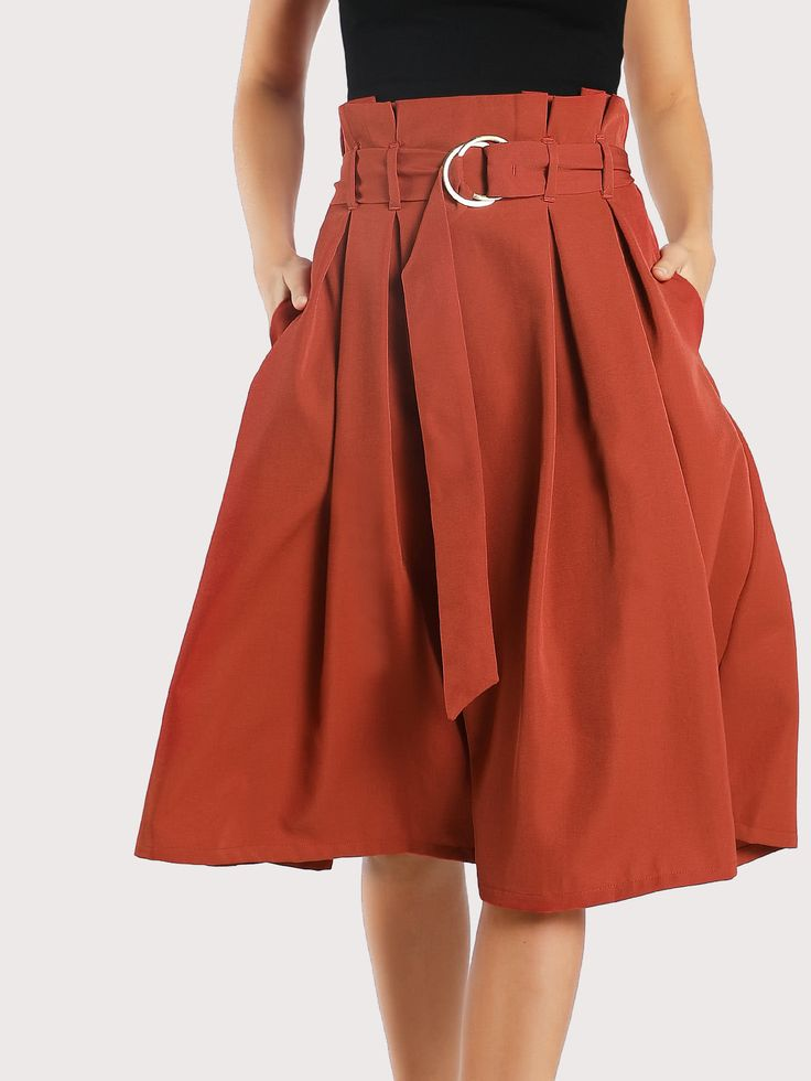 Shop Pleated O Ring Midi Skirt RUST online. SheIn offers Pleated O Ring Midi Skirt RUST & more to fit your fashionable needs.