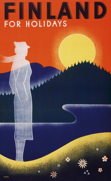 Finland vintage travel poster by Ingrid Bade, 1936 ~ 'Finland for holidays.'