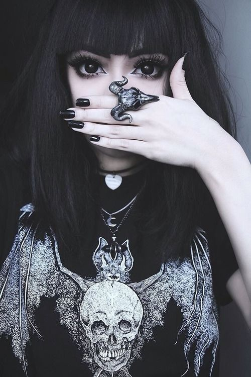 Goth, pretty, dark, big eyes, eyeliner, fashion, creepy, makeup, black, jewellery, accessories, style, cool