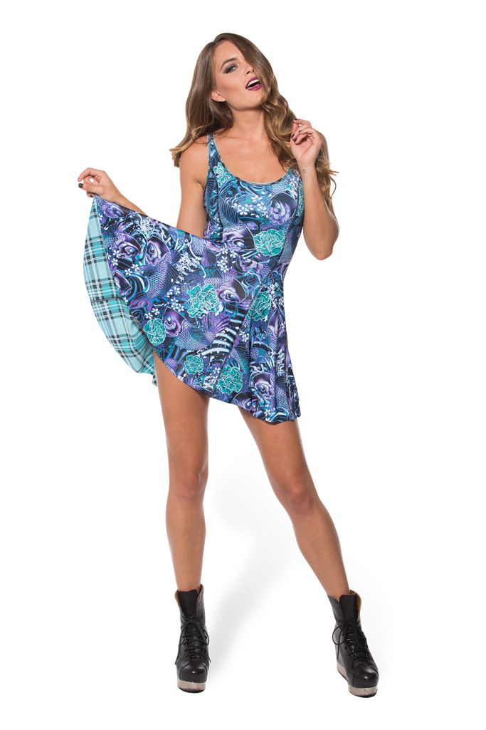 Tartan Aqua vs Koi Purple Inside Out Dress - LIMITED (WW $170AUD / US $165USD) by Black Milk Clothing