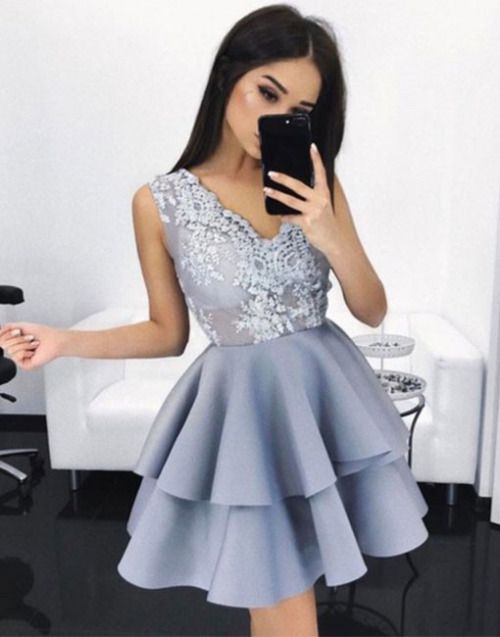 Cute v neck lace short prom dress. Cute homecoming dress for teens, cocktail dress