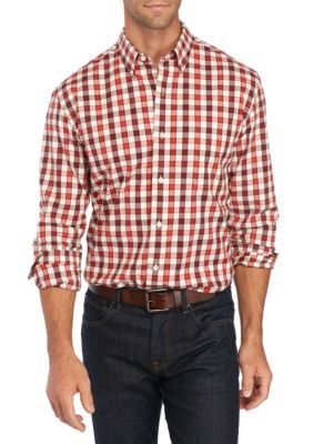 Saddlebred Men's Long Sleeve Stretch Oxford Shirt - Red/Ivory - 2Xl