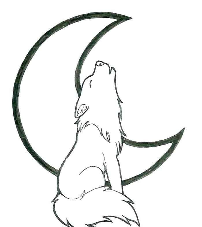 Wolf Howling At The Moon Coloring Pages Wolf Drawing Easy Wolf