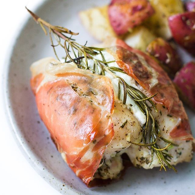 I stuffed chicken with goat cheese and then wrapped it in prosciutto. Brilliant, I know!