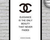 COCO CHANEL ART - affiche de Coco Chanel, citation de Coco Chanel, devis impression d'art, cadeau pour les filles, mode Coco, mode de Chanel, art déco pour les filles