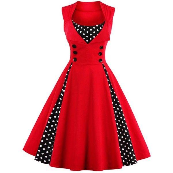 Midi Polka Dot Prom Dress ($16) ❤ liked on Polyvore featuring dresses, retro-style dresses, retro-inspired dresses, red dot dress, retro dresses and button dress