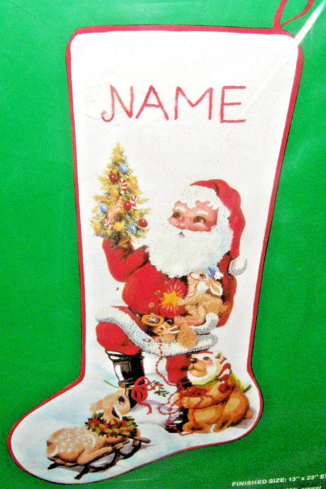 31ceeb9ddbc3d VTG New Sealed Needle Treasures Santa & Friends Christmas Stocking  Stitchery Kit #NeedleTreasures