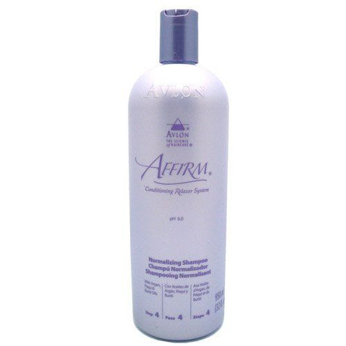 Affirm Normalizing Shampoo 950ml by Affirm. $24.75. Affirm Normalizing Shampoo:Insures That just-relaxed hair has returned to the normal pH range. Features a Color Indicator to confirm removal of all traces of relaxer creme. Lathers effectively to cleanse and remove residual relaxer oils. Helps re-align and close cuticles. Leaves hair tangle-free. DIRECTIONS:(For complete details, refer to Professional Instructions.) After rinsing Affirm conditioner from hair,lather wel...