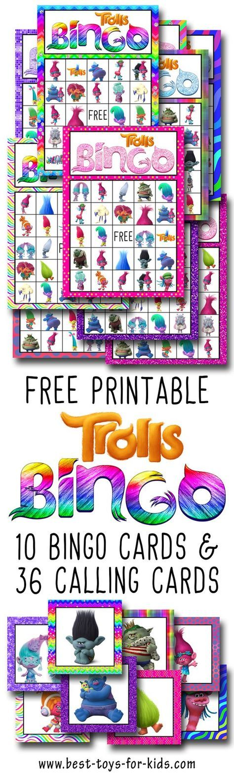 Trolls Free Printable Bingo Cards And Calling Cards Perfect For Playing At A Trolls Birthday Party