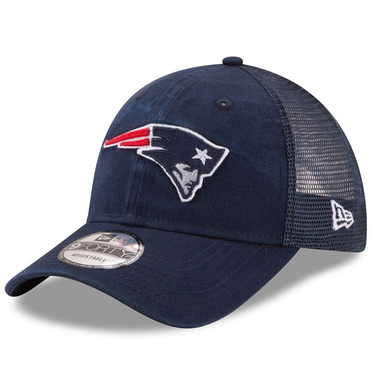 New England Patriots New Era Trucker Washed 9FORTY Adjustable Hat - Navy