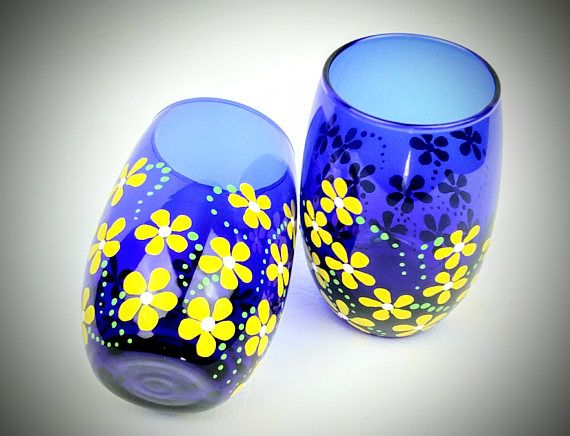 Hand painted stemless wine glasses, set of 2, yellow flowers, wine glasses, blue wine glass, gift set, blue wine glasses, yellow wine glass