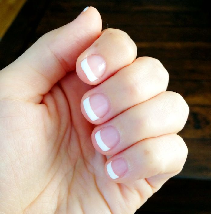 Shellac French Manicure... It's nice to see a pic with short nail beds!!