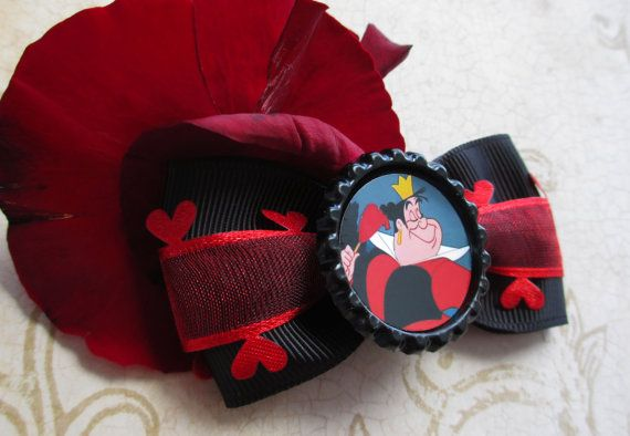 Alice in Wonderland hair bow Queen of Hearts disney hair bow cute steampunk kawaii red lace
