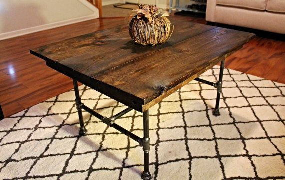 Steel and Pine Wood Coffee Table by SteelandPine on Etsy, $165.00