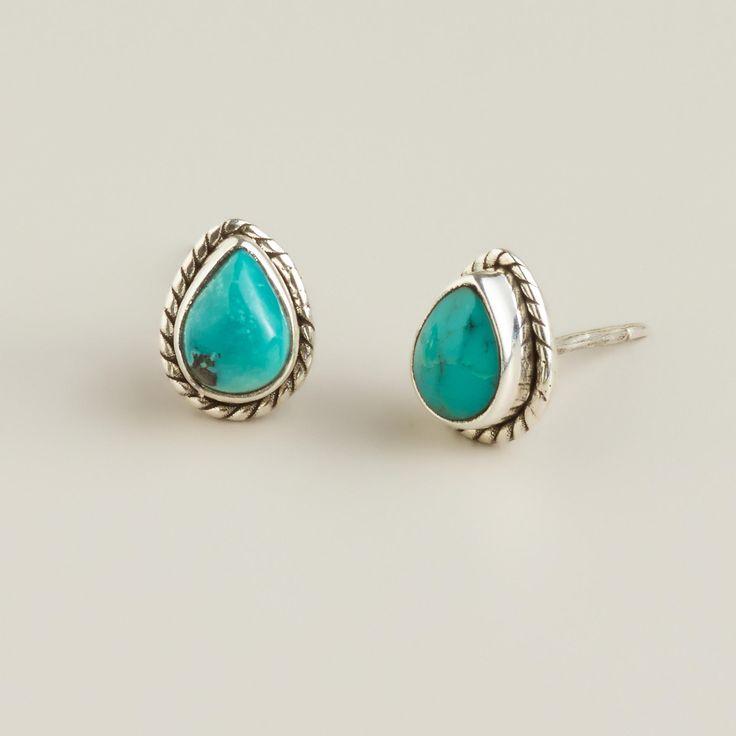 Sterling Silver Turquoise Teardrop Stud Earrings #stockingstuffers #giftsforher