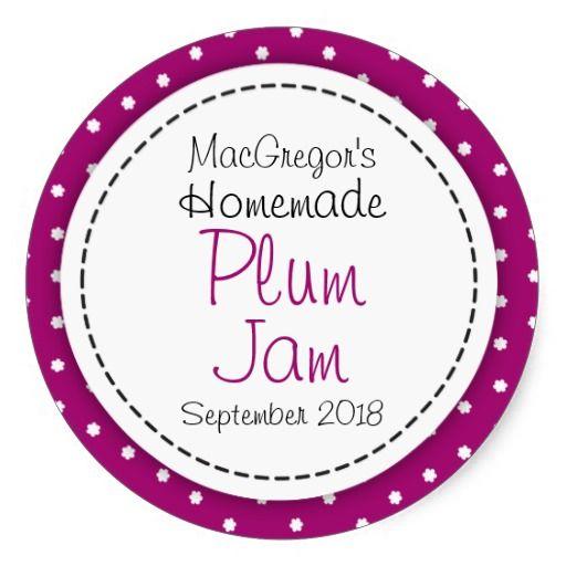 Round plum preserve or jam jar food label stickers. Design by www.sarahtrett.com