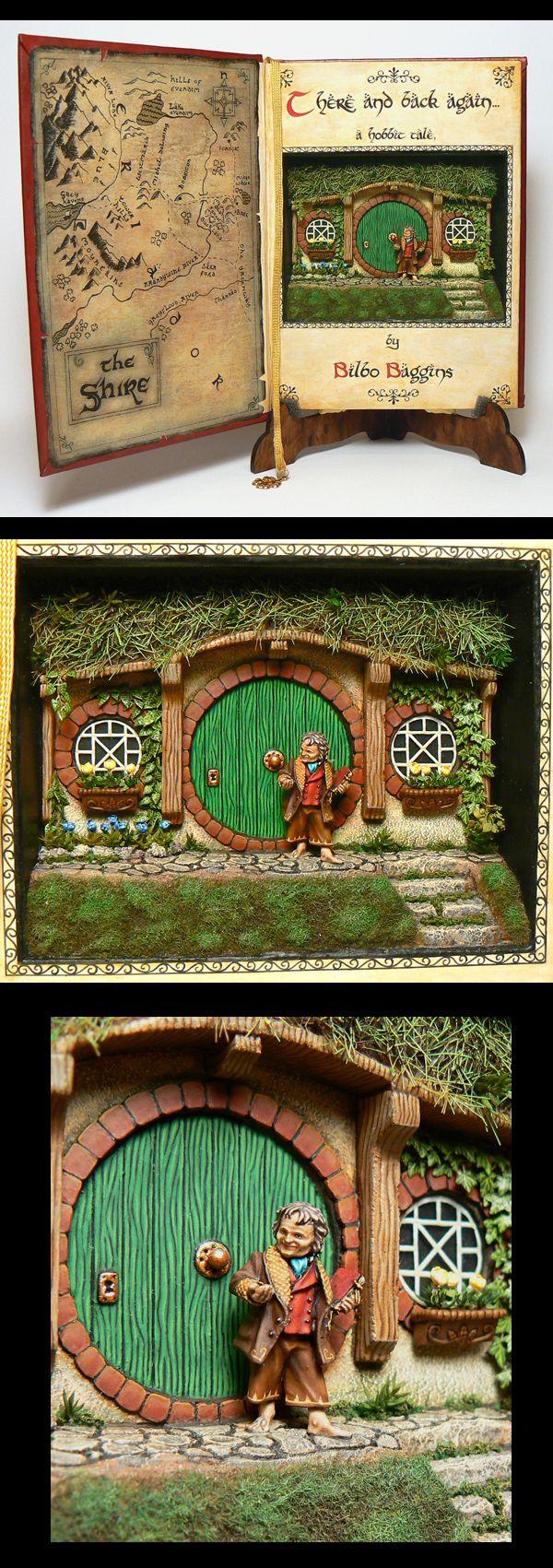 Bilbo Baggins diorama in a book - artist?    miniature, room box, repurpose, clay