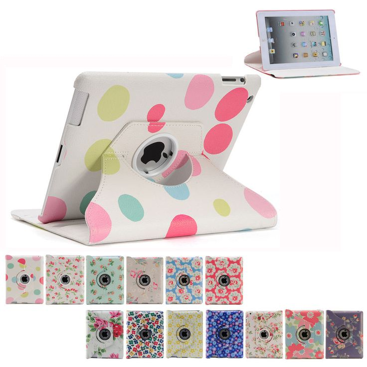 Flower Smart Cover Case 360 Rotating for Apple iPad 4 3 2 | iPad mini | iPad Air #BFA