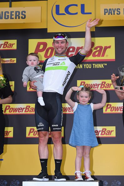 #TDF2016 103th Tour de France 2016 / Stage 3 Podium / Mark CAVENDISH Celebration / Children / Delilah Grace CAVENDISH Daughter / Frey CAVENDISH Son /...