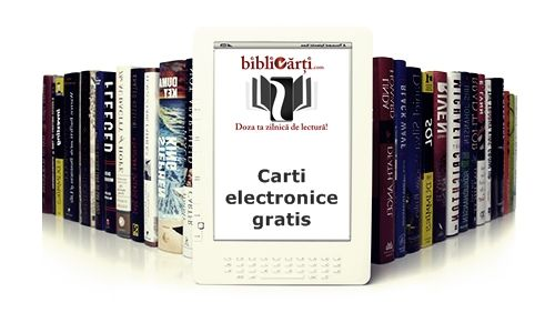 'Bibliocărți: îți sunt oferite cadou cărți electronice- 800 de cărți în limba română din diverse categorii, diverse titluri și diverși scriitori celebri. Descarcă online, dezarhivează, conectează-ți e-readerul la PC și transferă-ți biblioteca virtuală cu cărțile electronice pe care dorești să  le citești'  http://bibliocarti.com/descarca-online-o-biblioteca-de-carti-electronice-in-romana/
