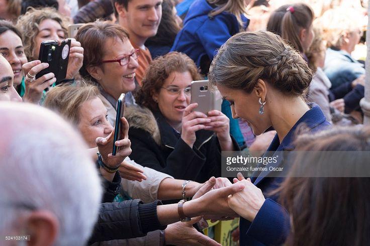 Queen Letizia of Spain speaks with members of the public as she attends the Miguel de Cervantes 2015 award ceremony at Alcala de Henares University on April 23, 2016 in Alcala de Henares, Spain.