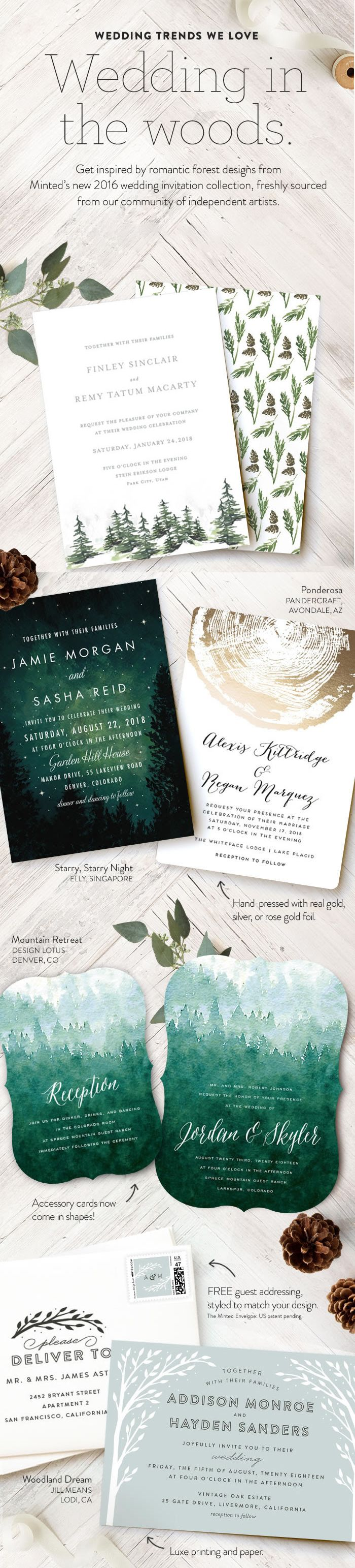 get inspired by romantic forest wedding invitations designs from our minteds collection of wedding stationery and