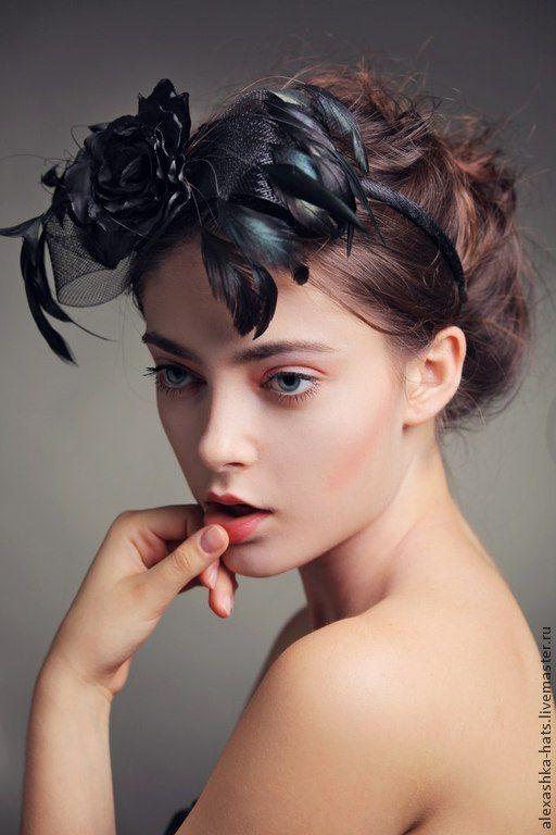 ободок с перьями и розой - черный,одобок,ободок с перьями,ободок с цветами