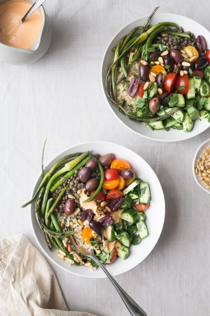 Quinoa Bowl w/ Grilled Garlic Scapes + Red Pepper Tahini Sauce