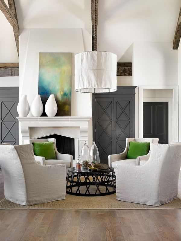 pink wallpaper: The Doors, Living Rooms, Lights Fixtures, Color, Fireplaces, Coff Tables, Grey, White Wall, Green Pillows