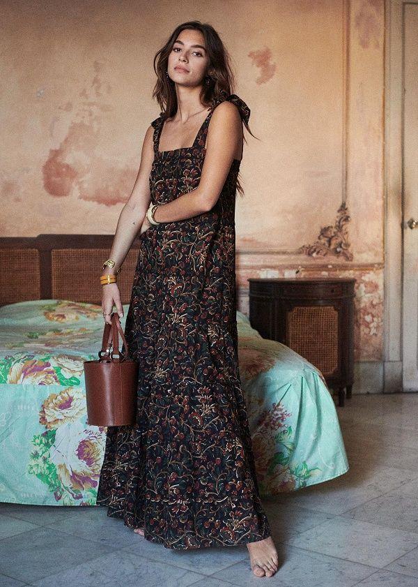 Sezane Annie Dress Floral Print Maxi Dress Boho Style Long Dresses Maxi Dress